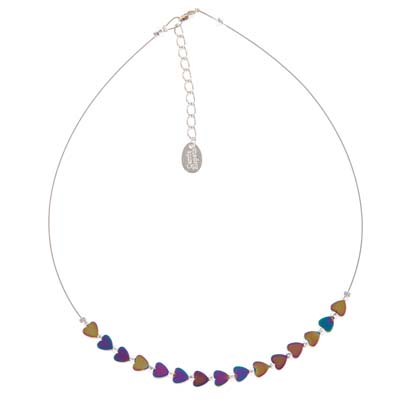 Carrie Elspeth - Rainbow Haematite Hearts Necklace
