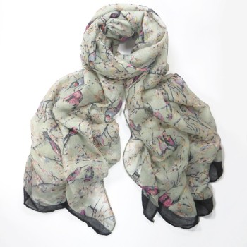 Delicate Bird Print Scarf/Wrap - Grey