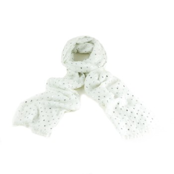 Silver Foil Heart Scarf - White