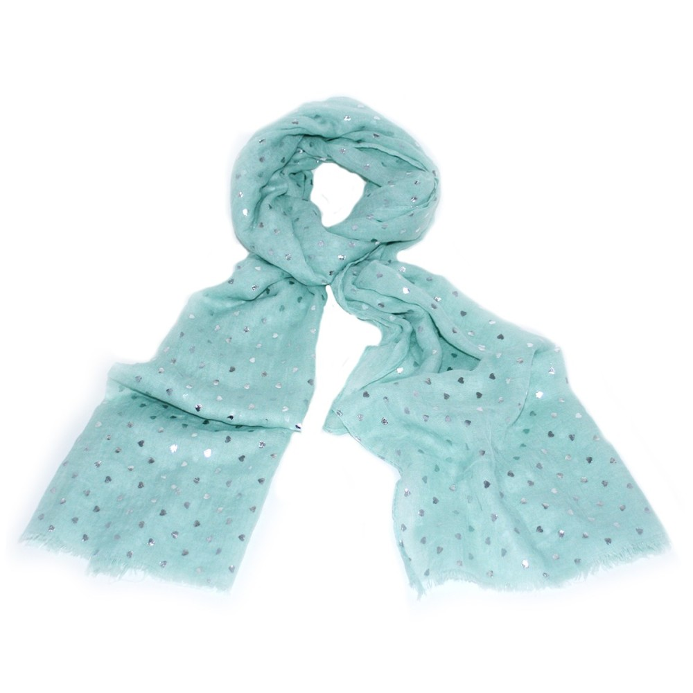 Green Hearts with silver flecks scarf
