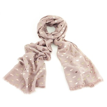Gold Foil Pink Butterfly Scarf
