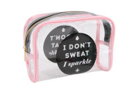 ' I Don't Sweat I Sparkle' Clear Cosmetic Bag
