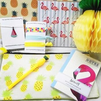 Regular Gift Box: Mainly pineapples, some flamingoes and some watermelons