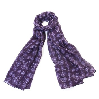 Bicycle Scarf/Wrap - Purple (New Print)