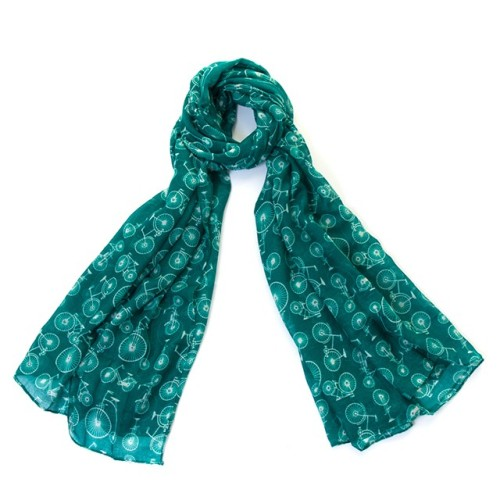 Bicycle Scarf/Wrap - Green (New Print)