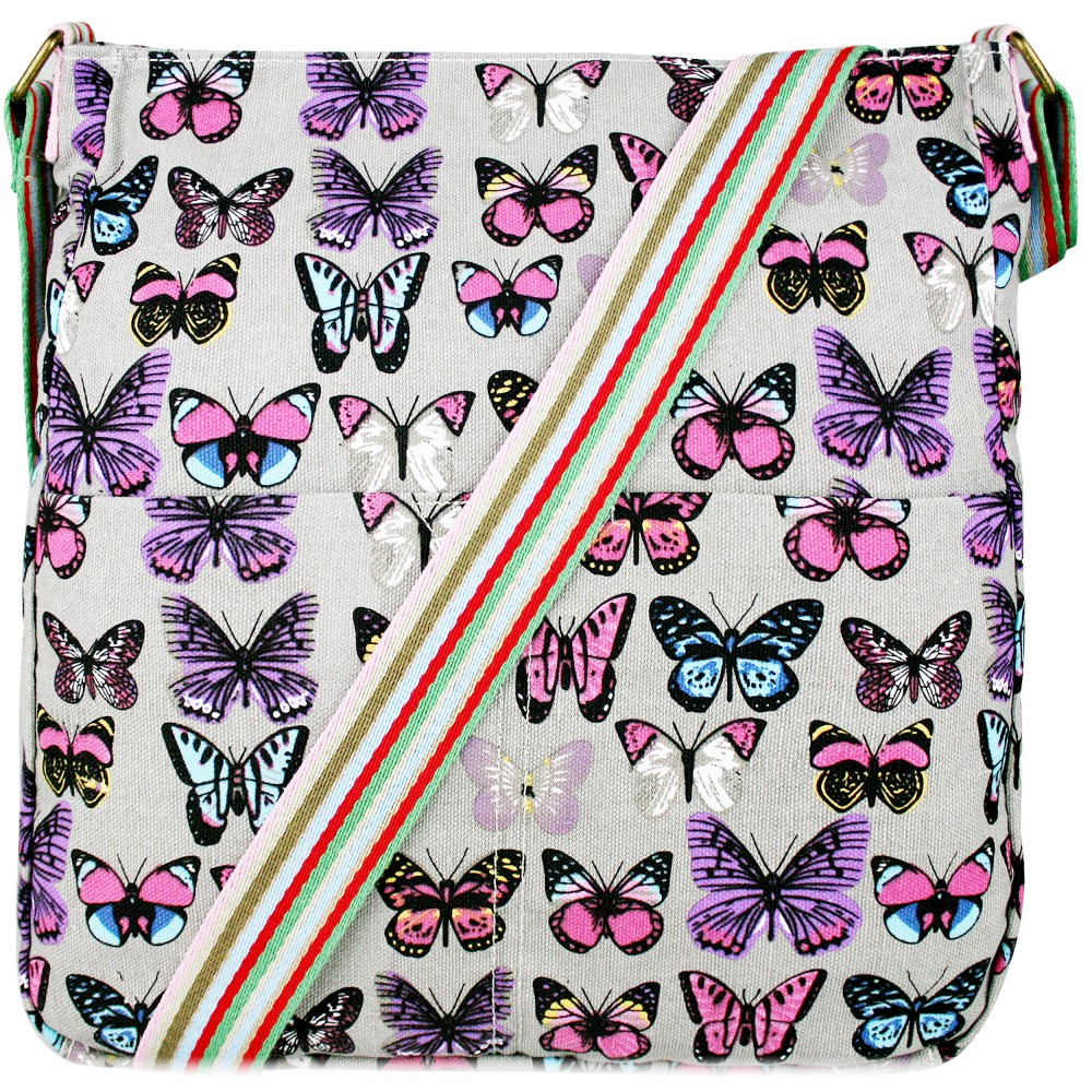 Butterfly Canvas Bag - Grey