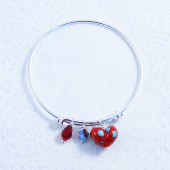 Red & Turquoise Glass Heart Bead on a silver plated Bangle