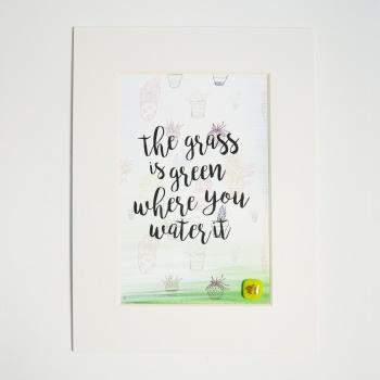 Green Green Grass Print. A5