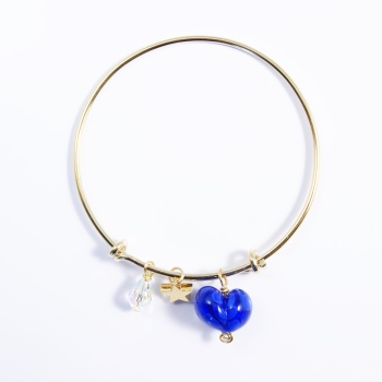 Dark Blue Heart On a 14K Gold Plated Bangle