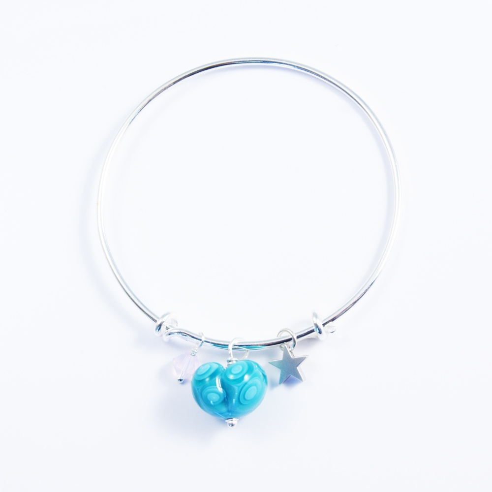 Turquoise Heart Silver Bangle with pink swarovski
