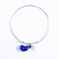 Dark Blue Heart On a silver Plated Bangle