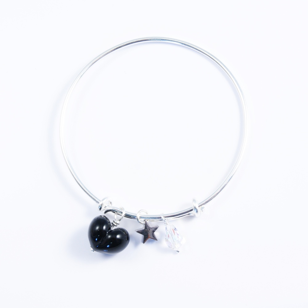 Black Heart On a silver Plated Bangle