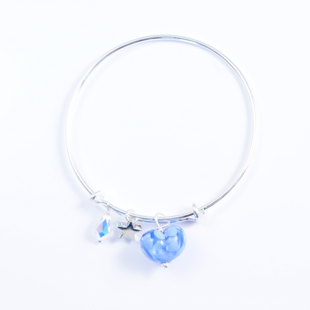 Baby Blue Heart On a silver Plated Bangle