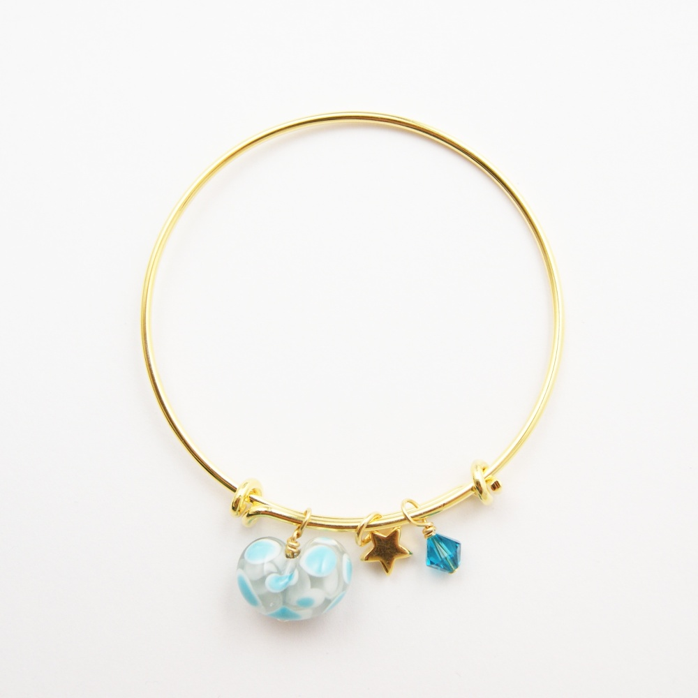 Grey and Turquoise Heart Bangle, Gold