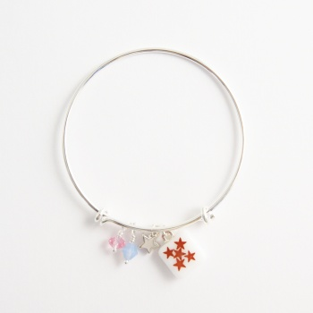 White Stars on a silver Bangle
