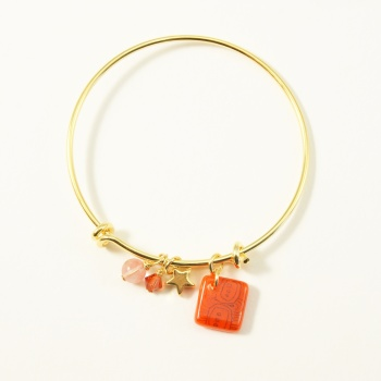 Orange neo bangle on gold