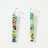 Multicoloured glass pillar earrings on silver