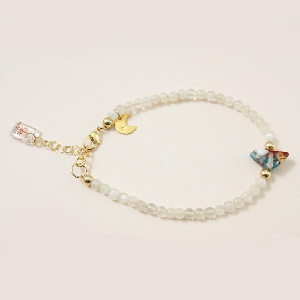 Handcarved Glass Charm Bracelet with Moonstones.