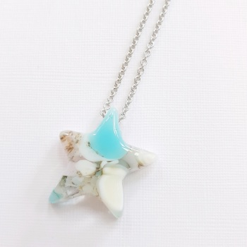 Aqua silver shooting star