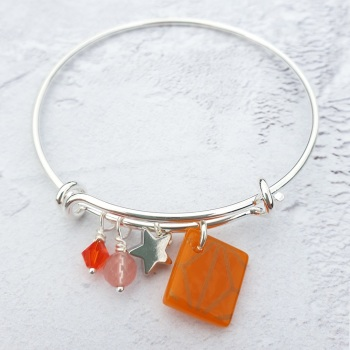 Orange Geometric Bangle