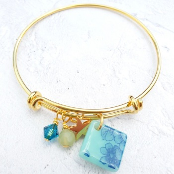 Turquoise and blue floral Bangle