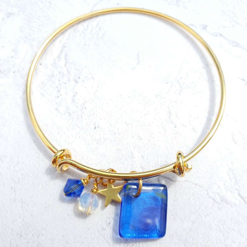 Delicate Blue rose bangle