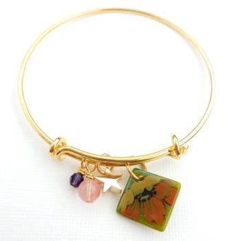Olive floral Gold Bangle