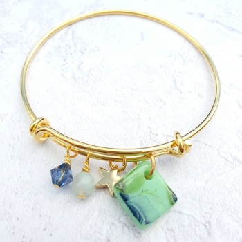 Green floral Gold Bangle