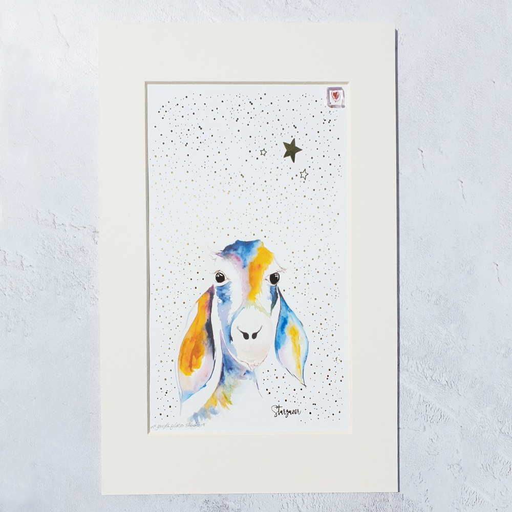 Stargazing Goat Print