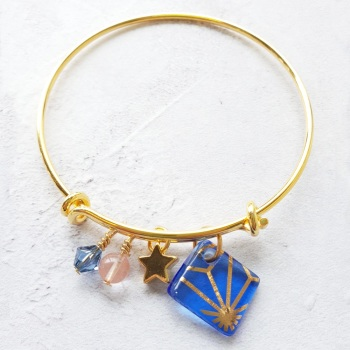 Blue Gold Geo Bangle