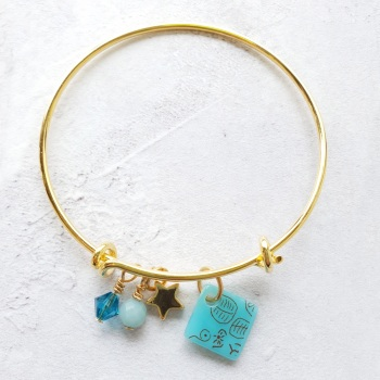 Turquoise neo bangle on gold