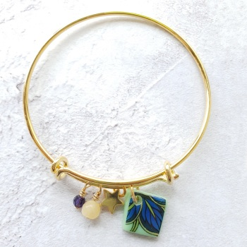 Green and blue leaf Gold Bangle