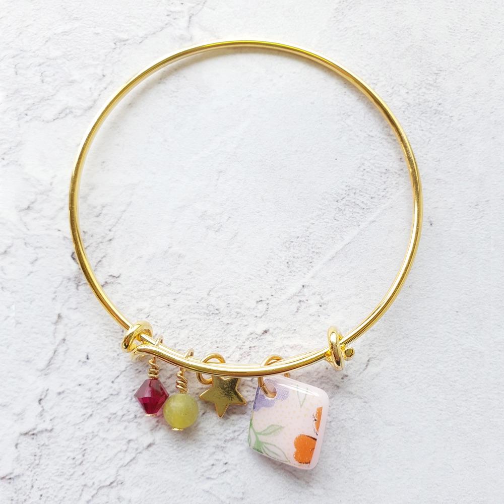 Pink floral gold bangle