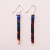 #2 Multicoloured glass pillar earrings on silver