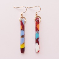 Multicoloured pillar earrings on filled gold