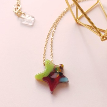 Multicoloured Glass star on gold #8