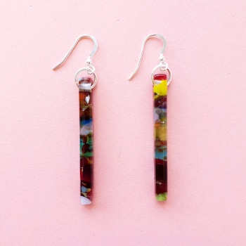 Multicoloured glass pillar earrings on silver #2