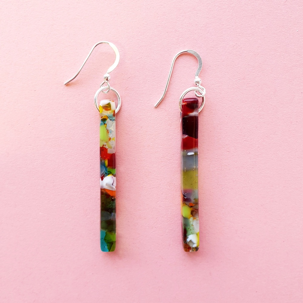Multicoloured glass pillar earrings on silver #3