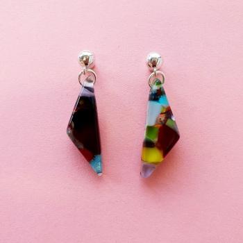 Large Glass diamond drop earrings