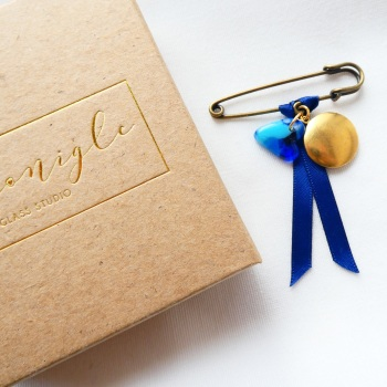 Grooms Wedding Pin With Locket in Brass