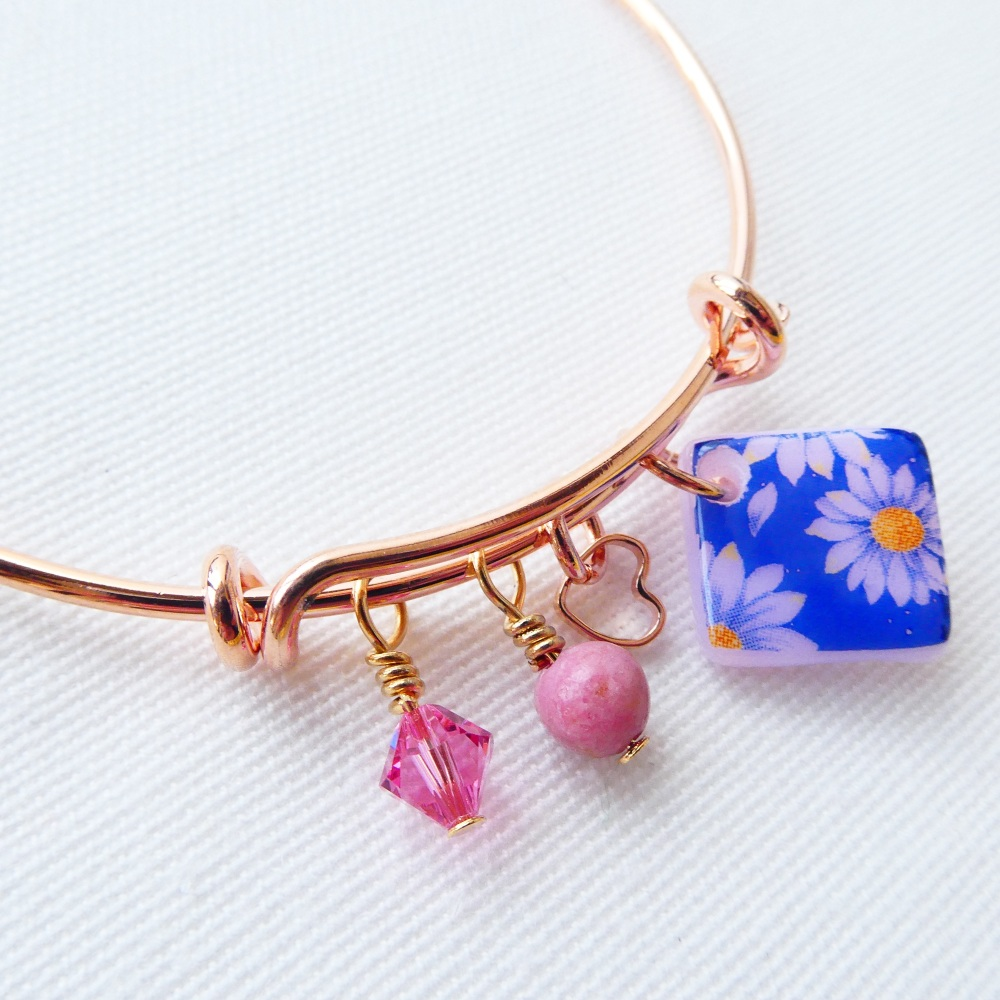 Blue Floral rose gold bangle