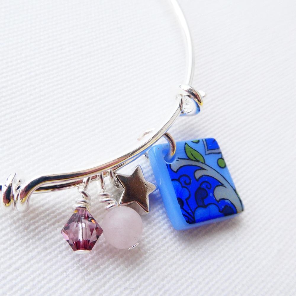 Blue floral Bangle