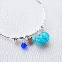 Turquoise glass Heart On a silver Plated Bangle