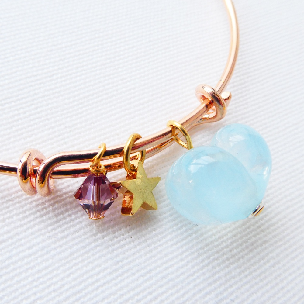 Turquoise glass heart  rose gold bangle