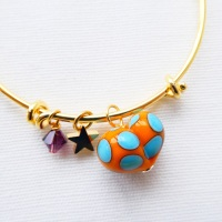 Orange and Turquoise glass Heart On a 14K Gold Plated Bangle