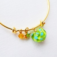 Green and Turquoise glass Heart On a 14K Gold Plated Bangle