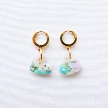 Nebula, Handcarved Glass Heart Drop Earrings