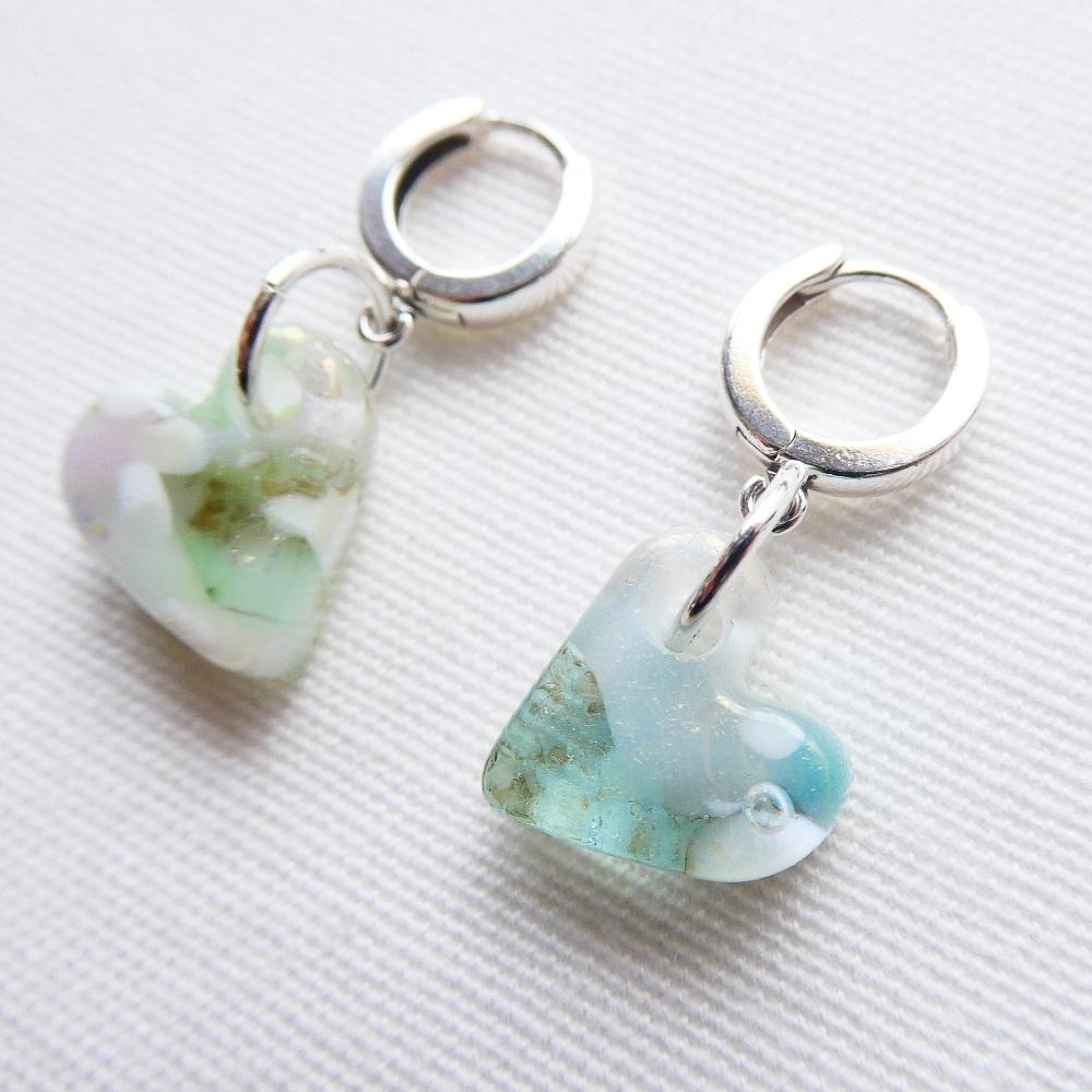 Seafoam, Handcarved Glass Heart Drop Earrings