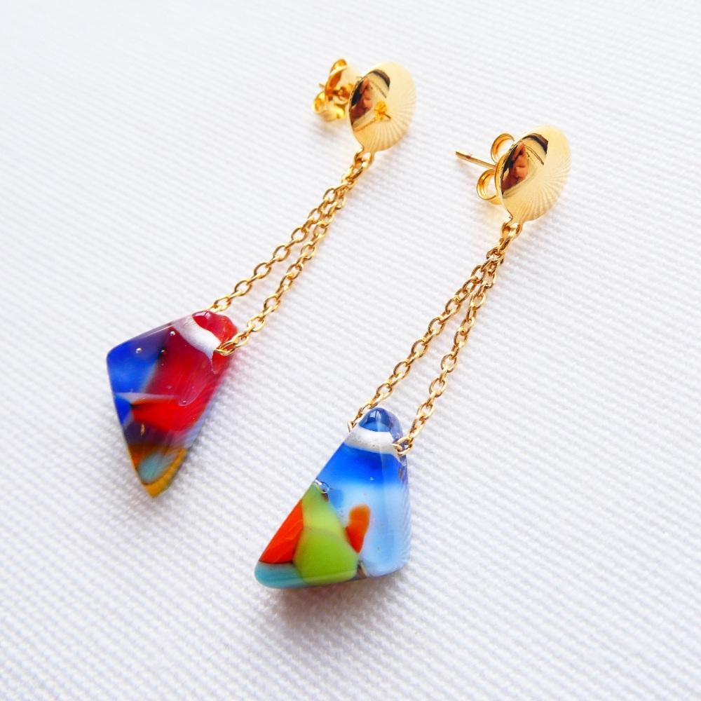 Pop Art, Handcarved Glass Diamond Drop Chain Earrings