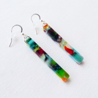 Multicoloured glass pillar earrings on silver #4